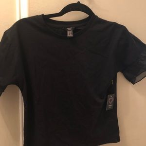NWT Forever 21 Girls Black shirt with lace-sleeve
